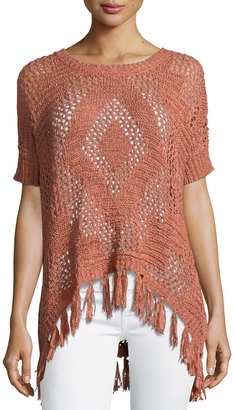Bobeau Fringed Tape-Yarn Sweater $49 thestylecure.com