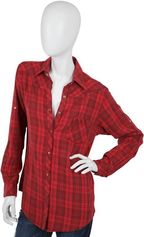 Kettle Black Plaid Boyfriend Oversized Shirt in Red, Grey, and Brown