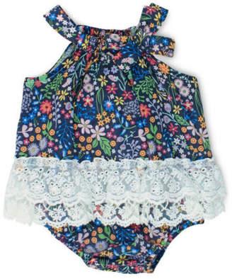 Bebe NEW Grace Floral Woven Bodysuit Navy