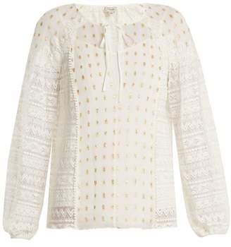 Temperley London Wondering Lace Panel Fil Coupe Chiffon Top - Womens - White