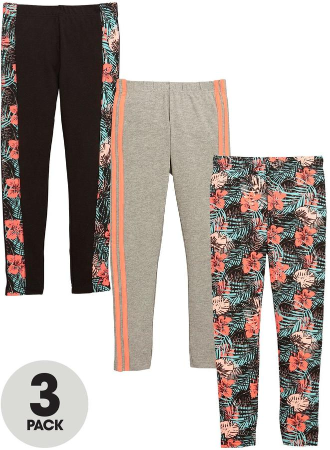 Very Girls Floral and Stripe Leggings (3 Pack)
