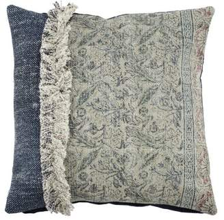 A&B Home Denim Blue and Beige Square Throw Pillow, 100% Cotton, 20 by 20-Inch