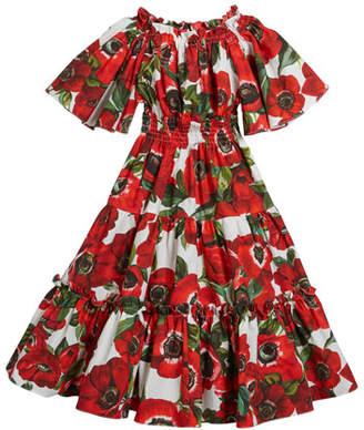 Dolce & Gabbana Rose-Print Tiered Short-Sleeve Dress, Size 12-30 Months