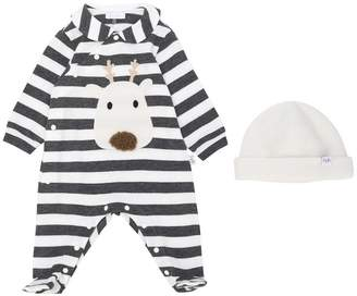 Il Gufo striped deer pajamas and hat set