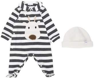 Il Gufo striped deer pajamas and hat set