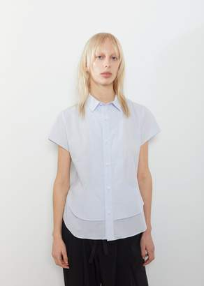 Y's Front Layer Short Sleeve Shirt Blue