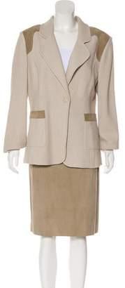 St. John Notch-Lapel Leather Skirt Suit