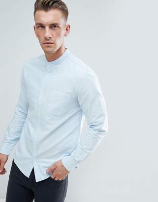 New Look Slim Fit Oxford Shirt With Grandad Collar In Light Blue