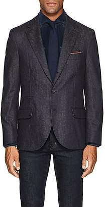 Brunello Cucinelli Men's Denim-Effect Wool Three-Button Sportcoat - Navy