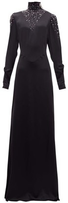 Alessandra Rich Crystal Embellished Silk Maxi Dress - Womens - Black