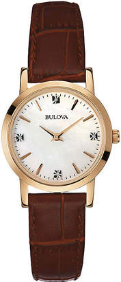 Bulova Womens Diamond-Accent Brown Leather Strap Watch 97P105