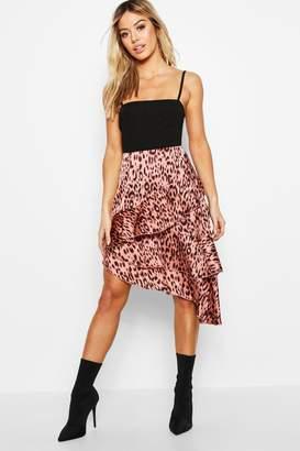 boohoo Petite Satin Leopard Ruffle Midi Skirt