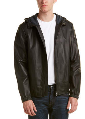 Vince Leather Scuba Hooded Jacket