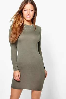 boohoo Petite Basic Long Sleeve Mini Bodycon Dress