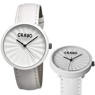 Crayo Pleats White Stainless Steel Case Unisex Watch