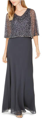 J Kara Sequined Capelet Gown