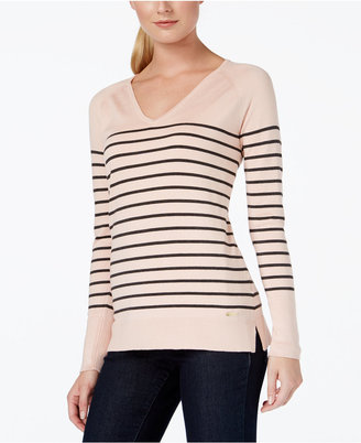 Calvin Klein Striped V-Neck Sweater $69.50 thestylecure.com