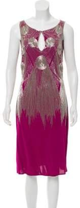 Naeem Khan Embellished Midi Dress Magenta Embellished Midi Dress