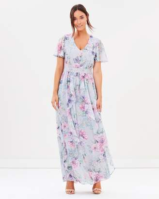 Dorothy Perkins Printed Lace Waist Ruffle Maxi Dress