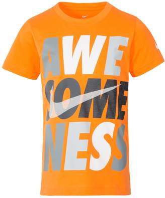 "Nike Boys 4-7 Awe-some-ness"" Logo Graphic Tee"