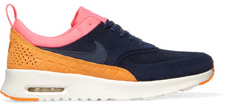 Nike - Air Max Thea Suede And Leather Sneakers - Navy $115 thestylecure.com
