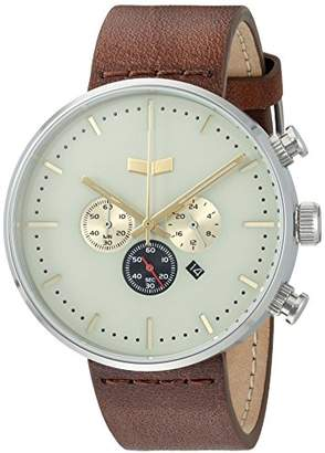 Vestal 'Roosevelt Chrono' Quartz Stainless Steel and Leather Dress Watch