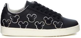 M.O.A. Master Of Arts Moa Mickey Mouse Black Leather Sneaker