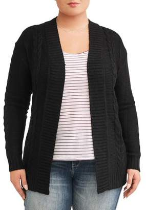 Evelyn Taylor Women's Plus Size Cable Knit Cardigan