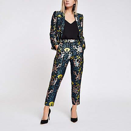 Womens Petite Blue jacquard cigarette trousers
