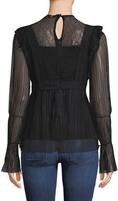 Lumie Pleated-Lace Peasant Blouse