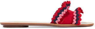 Loeffler Randall Birdie Rickrack-trimmed Suede Slides - Red
