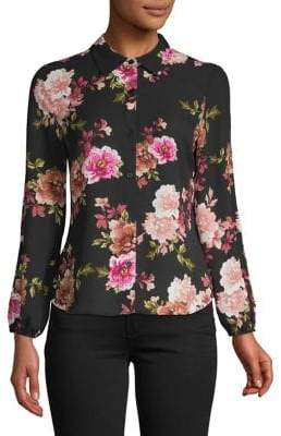 INC International Concepts Petite Floral Button-Down Blouse