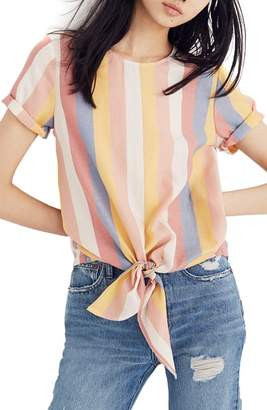 Madewell Sherbet Stripe Button Back Tie Tee