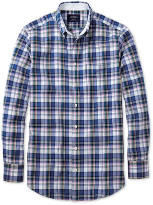 Charles Tyrwhitt Extra Slim Fit Blue Multi Check Washed Oxford Cotton Casual Shirt Single Cuff Size XS