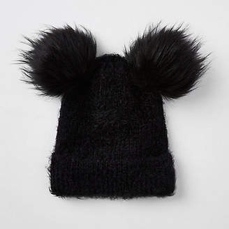 River Island Womens Black double pom pom beanie hat 12777cd4b86d