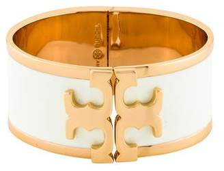 Tory Burch Enameled Raised-Logo Wide Bracelet