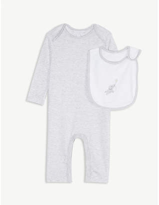 The Little White Company Indy striped cotton babygrow and elephant bib set 0-24 months