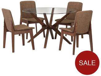 Camilla And Marc Julian Bowen Chelsea 120 Cm Round Glass And Wood Dining Table + 4 Chairs