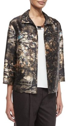 Lafayette 148 New York Griffen 3/4-Sleeve Printed Topper Jacket $698 thestylecure.com