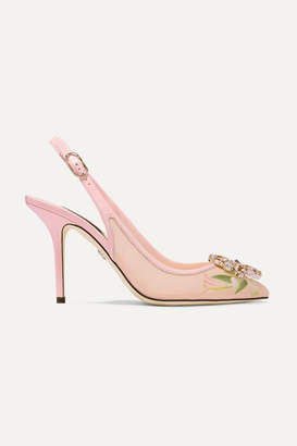 Dolce & Gabbana Swarovski Crystal-embellished Patent Leather-trimmed Floral-print Mesh Slingback Pumps - Antique rose