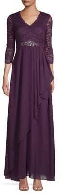 Eliza J Embellished Waist Drape A-Line Gown