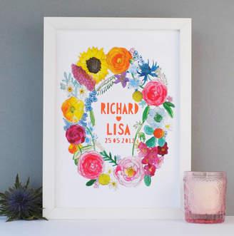 Miss Bespoke Papercuts Personalised Summer Flowers Wedding Papercut Print