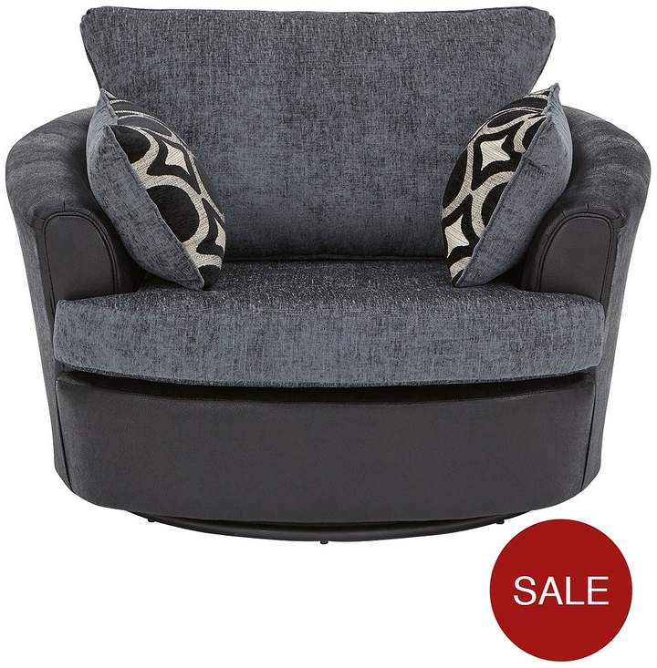 Bardot Fabric And Faux Snakeskin Swivel Chair