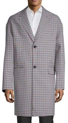 Valentino Plaid Notch Lapel Wool Coat