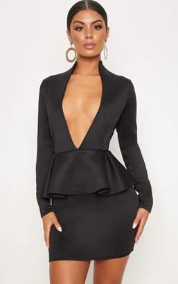 PrettyLittleThing Black Extreme Plunge Peplum Longsleeve Bodycon Dress