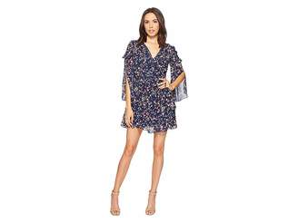 Laundry by Shelli Segal Printed Chiffon Dress with Petal Sleeve and Ruffle Details Women's Dress