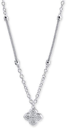 Charriol Le Fleur Silver Necklace with White Topaz, Stainless Steel Cable (1.5Mm), Silver Chain