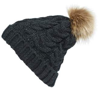 BP Knit Beanie with Faux Fur Pompom
