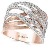 Effy Pave Rose Diamond and 14K White Gold and Rose Gold Ring