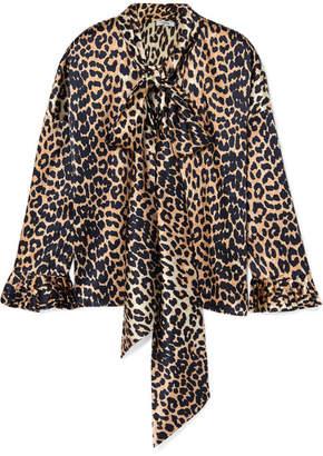 Ganni Calla Pussy-bow Leopard-print Silk-blend Satin Blouse - Leopard print